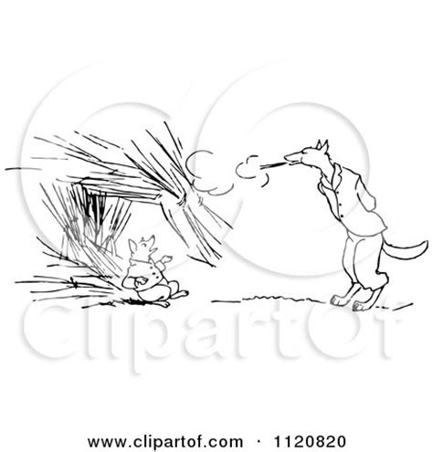 Royalty Free (RF) Wolf Blowing House Down Clipart