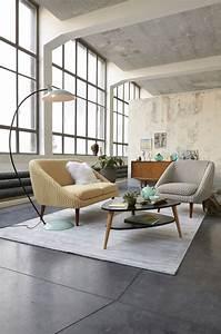 Table Basse Loft : table basse inspiration scandinave style retro mur beton brut sol beton cire baies vitres es ~ Teatrodelosmanantiales.com Idées de Décoration