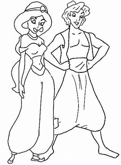 Coloring Disney Pages Cartoon Princess Jasmine Aladdin