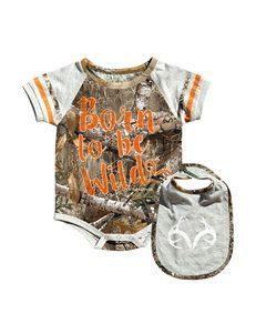 Realtree 2 pc Born to Be Wild Bodysuit & Bib Set Baby 0