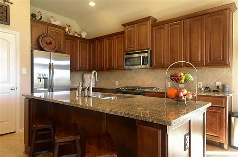 Cherry Cabinets Grey Countertops Google Search Home