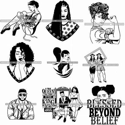 Melanin Svg Afro Woman King Bundle Queen