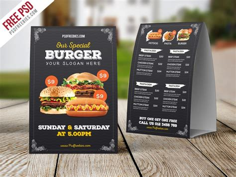 Free mockups and design tools. Freebie : Fast Food Menu Table Tent Template Free PSD by ...