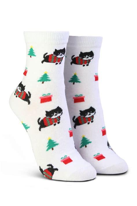 christmas tree cat print socks  white elephant