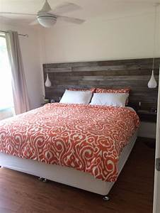 DIY Homemade Recycled Timber Bedhead With Floating