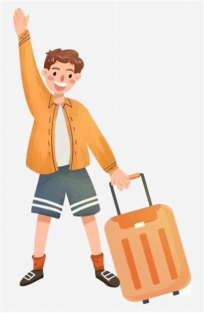 Clipart Suitcase Kid Boy Luggage Cartoon Pulling