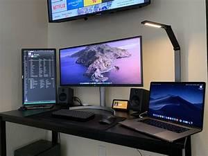 Home, Office, Setup, W, Macbook, Pros, And, Dual, Monitors, Macsetups