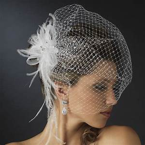 Jeweled Couture Feather Fascinator Veil Elegant Bridal