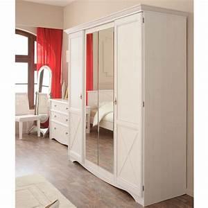 Armoire 4 Portes : armoire 4 portes charme blanc ~ Teatrodelosmanantiales.com Idées de Décoration