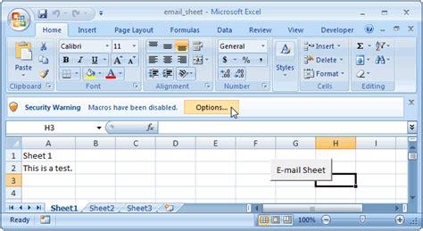 ms excel  email  active worksheet