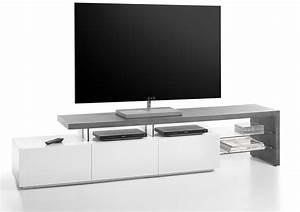 Tv Lowboard Beton : tv lowboard tv board in beton dekor mit absetzungen in matt wei 2 glasb den und 3 schubk sten ~ Indierocktalk.com Haus und Dekorationen