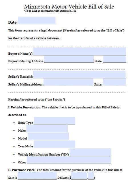 Virginia Mn Boat Dealers by Free Minnesota Motor Vehicle Bill Of Sale Form Pdf