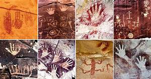 Hand Paintings And Symbols In Rock Art