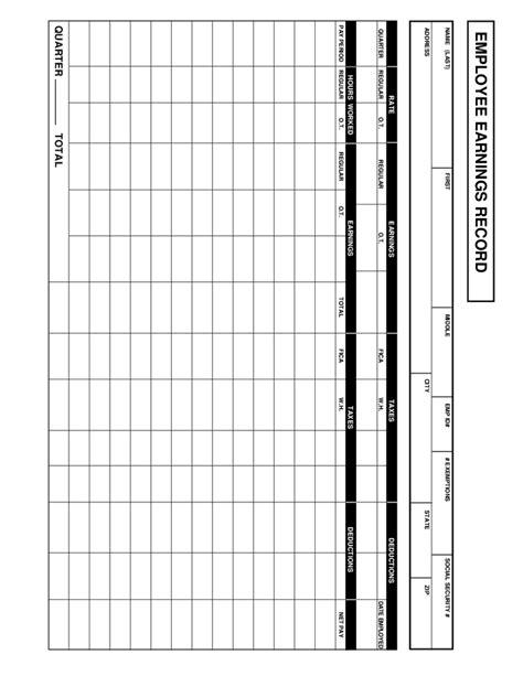 Employee Earnings Record Template employee earnings record template pictures to pin on