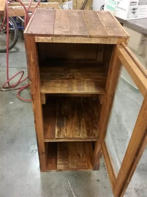 rustic pie safe pallet cabinet adds charm storage