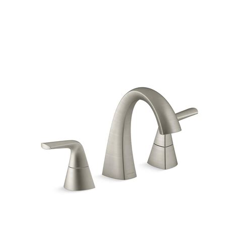 kohler elmbrook   widespread  handle bathroom faucet  brushed nickel   bn