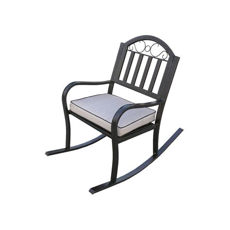 home depot outdoor rocking chair cushions oakland living rochester rocking patio chair with cushion