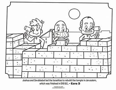 Coloring Bible Pages Ezra Nehemiah Jerusalem Wall