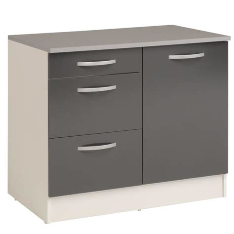 meuble bas pour cuisine eko gris meuble de cuisine bas pour évier avec tiroirs