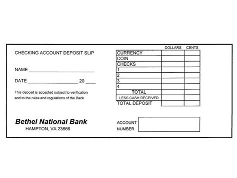 checking deposit slip template checking account lesson