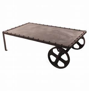 vintage industrial iron transfer cart coffee table kathy With vintage industrial coffee tables