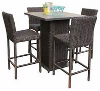 Patio Furniture Pub Table Sets by Rustico Pub Table Set With Barstools 5 Piece Outdoor Wicker Patio Furniture