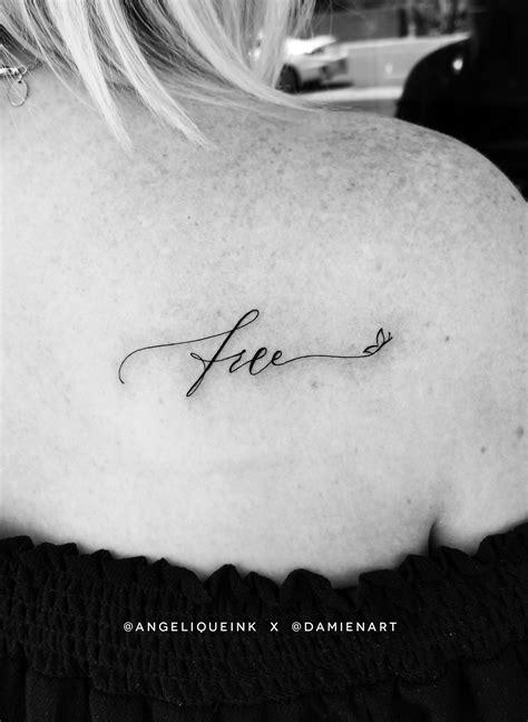 "Whimsical tattoo script design ""free"" with minimalist"