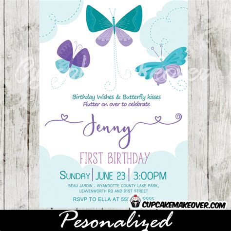 Butterfly Birthday Invitations, Purple Teal Blue Clouds