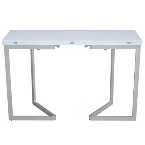 console cuisine pas cher table console extensible blanche laquée talia achat