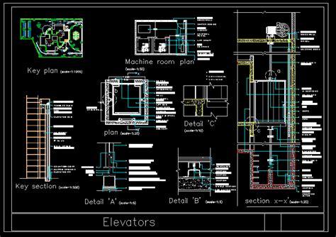elevator construction details dwg plan  autocad