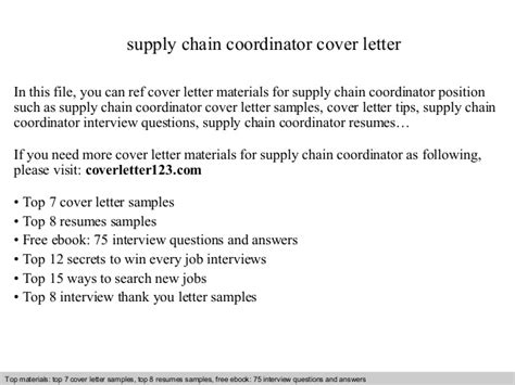 Supply Chain Planner Cover Letter by Supply Chain Coordinator Cover Letter