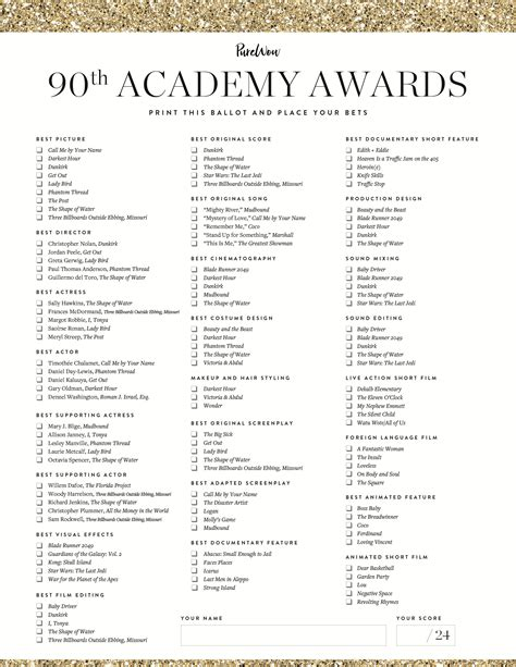 oscar ballot printable oscar ballot for tracking 2018 predictions purewow