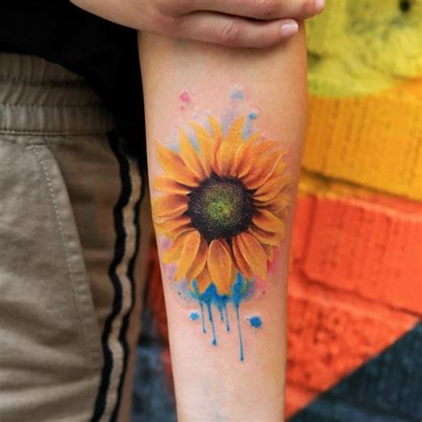 watercolor sunflower tattoo designs ideas  meaning