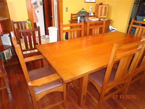 stickley arts and crafts dining room table and chairs by