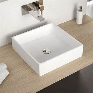 vasque a poser en resine carree 40x40 cm mineral With vasque carrée à poser salle de bain