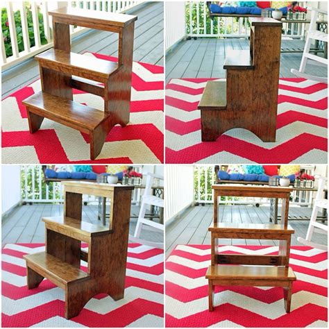 quaker style kitchen step stool  finished  custom
