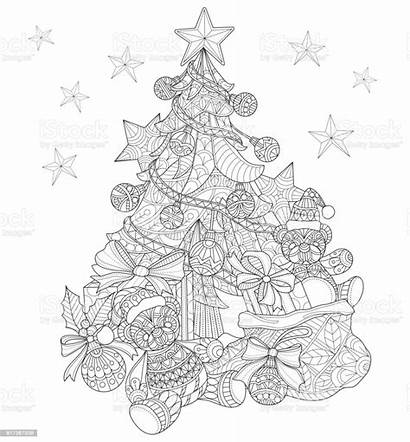 Coloring Christmas Tree Adult Decorations Vector Drawn