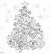 Coloring Christmas Tree Adult Decorations Pages Drawn Ornaments Vector Abstract Hand Illustration Line Xmas Books Thailand Culture Entertainment Arts sketch template