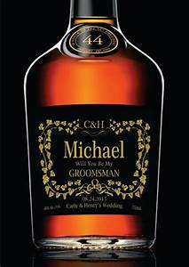 groomsman or best man gift personalized gold by With custom liquor labels for groomsmen