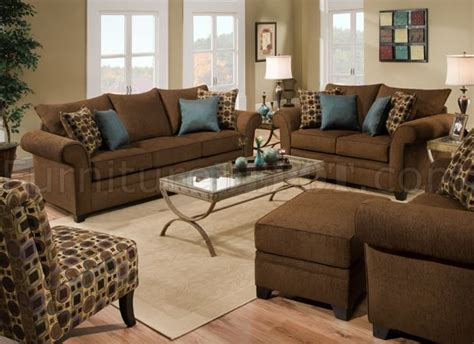 Throw Pillows For Brown Sofa by Brown Fabric Sofa Loveseat Set W Accent Throw Pillows