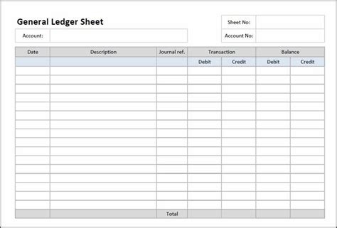 general ledger template printable general ledger sheet