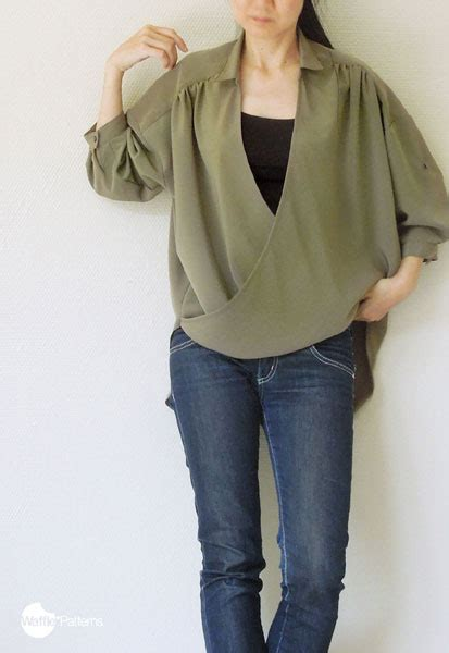 Draped Shirt Pattern - digital monaca drape wrap shirt sewing pattern shop