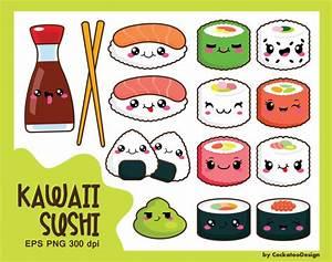 30% OFF, Kawaii clip art, kawaii sushi clip art, kawaii ...