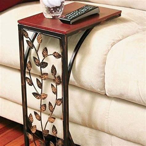 sofa side   table small metal dark brown wood