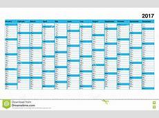 Basic Calendar 2017, Simple Design, Blue Boxes For Sunday