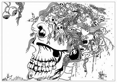 Doodle Coloring Mort Tete Doodling Adult Skull