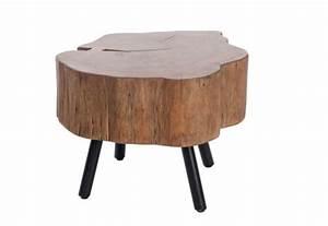Table Basse Tronc : table basse forme tronc d 39 arbre en bois massif et pied m tal noir 6 ~ Teatrodelosmanantiales.com Idées de Décoration