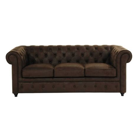 canapé capitonné chesterfield canapé capitonné 3 places en suédine marron chesterfield