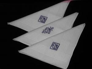 Men's Monogrammed Handkerchiefs Set of 3