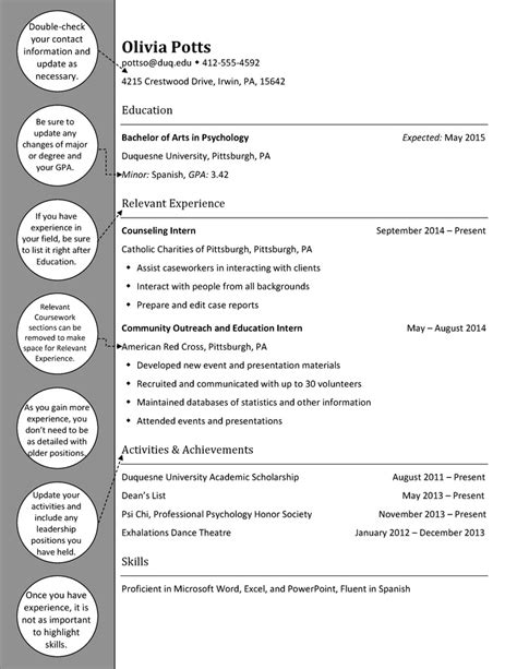 Psychology Major Resume Exle by Upperclass Psychology Resume Duquesne Resume Cover Letter Exles Resume And